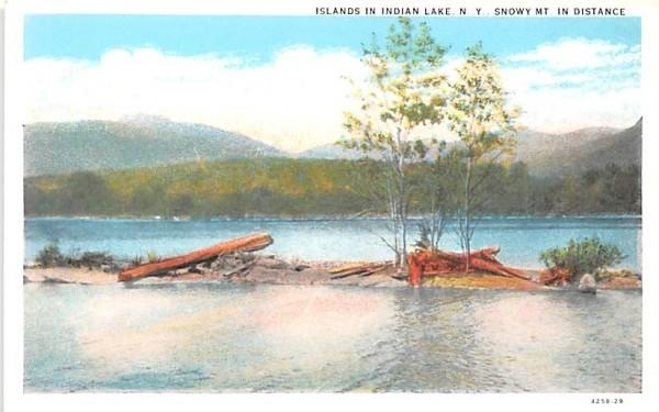 Islands Indian Lake, New York Postcard