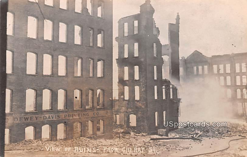 View of Ruins from Cherry Street - Jamestown, New York NY Postcard