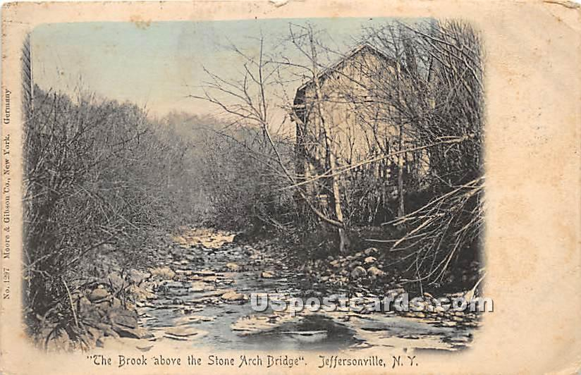 Brook above the Stone Arch Bridge - Jeffersonville, New York NY Postcard