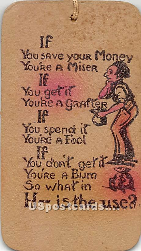 If you save your Money - Jeffersonville, New York NY Postcard