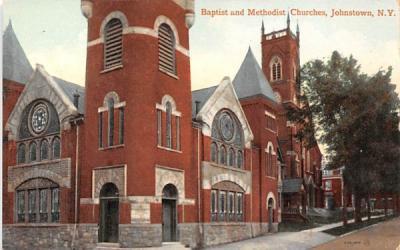 Baptist & Methodist Churches Johnstown, New York Postcard