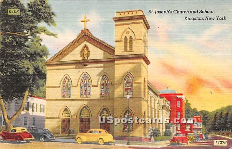 St. Josephs Church and School - Kingston, New York NY Postcard