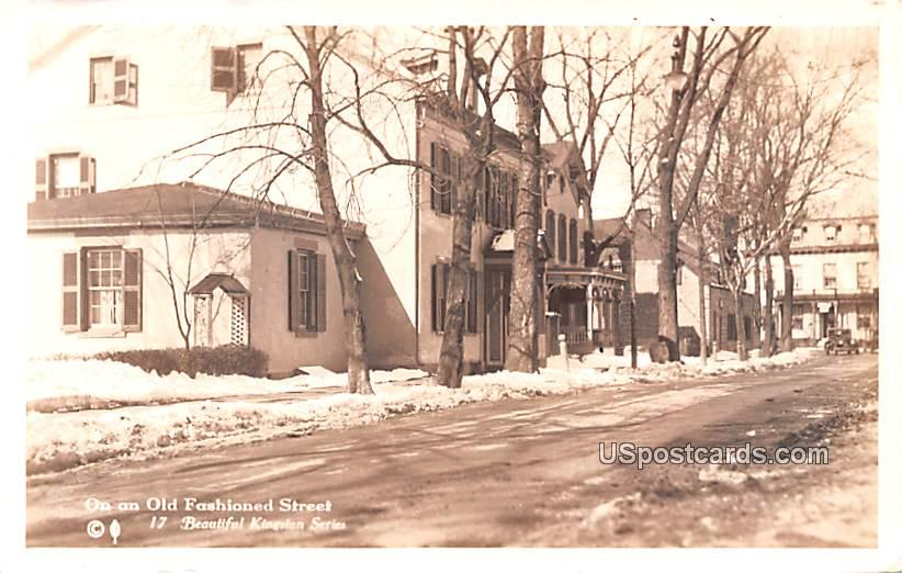 On an Old Fashioned Street - Kingston, New York NY Postcard