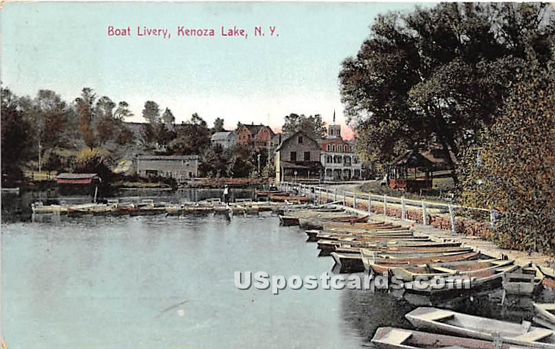 Boat Livery - Kenoza Lake, New York NY Postcard