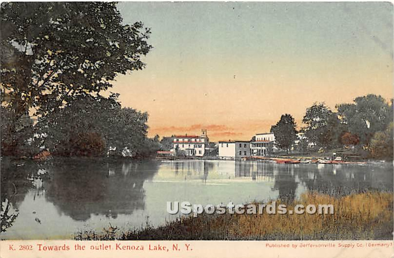 Towards the Outlet - Kenoza Lake, New York NY Postcard