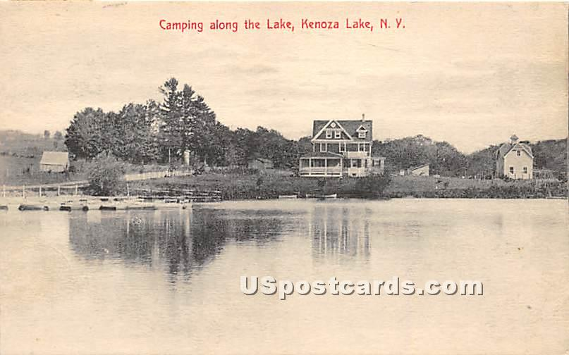 Camping along the Lake - Kenoza Lake, New York NY Postcard