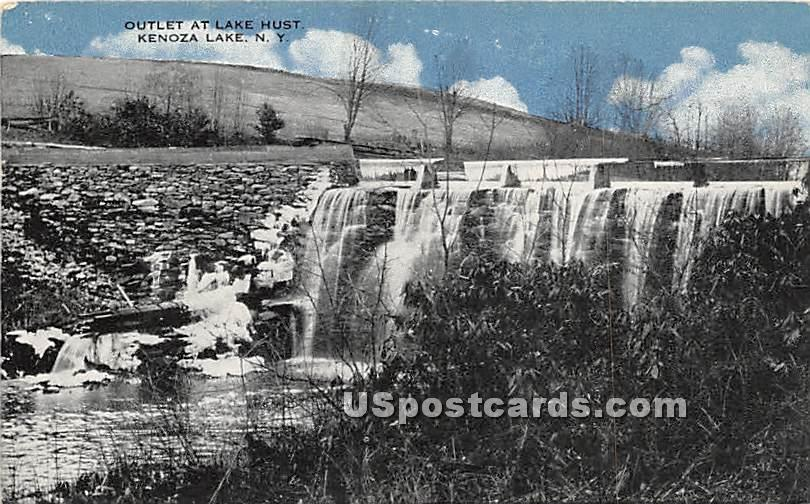 Outlet at Lake Hust - Kenoza Lake, New York NY Postcard