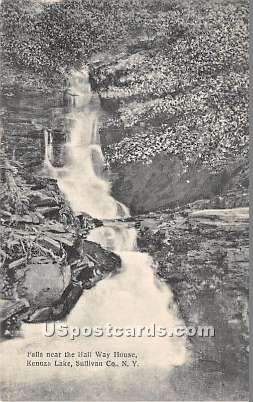 Falls near the Hall Way House - Kenoza Lake, New York NY Postcard