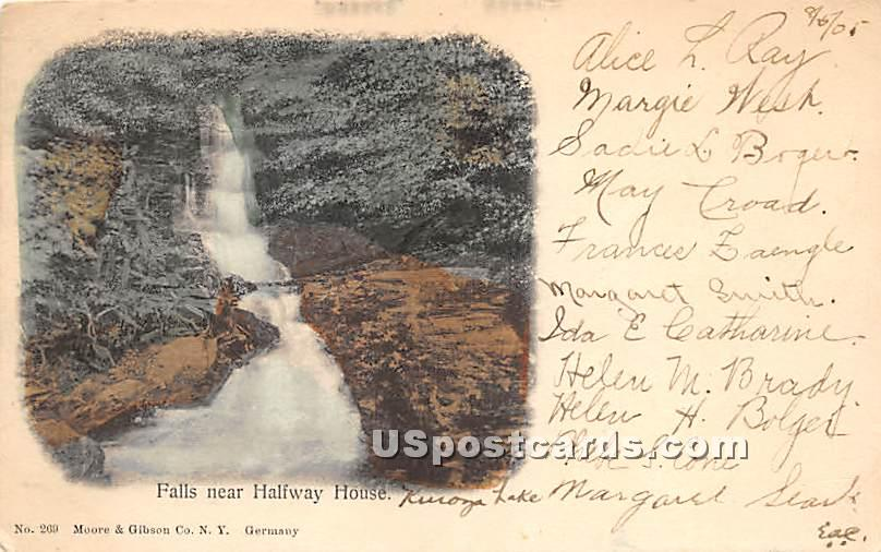 Falls near Halfway House - Kenoza Lake, New York NY Postcard