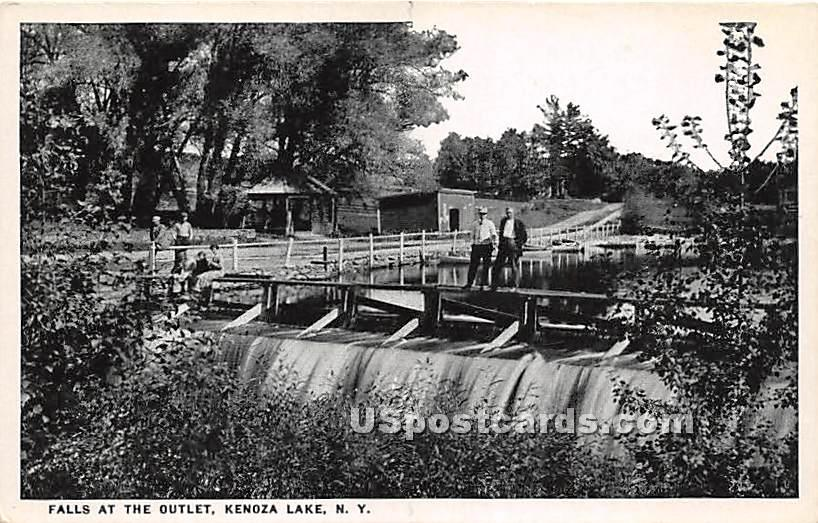 Falls at the Outlet - Kenoza Lake, New York NY Postcard