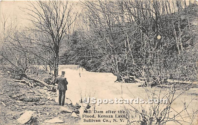 Mill Dam after the Flood - Kenoza Lake, New York NY Postcard