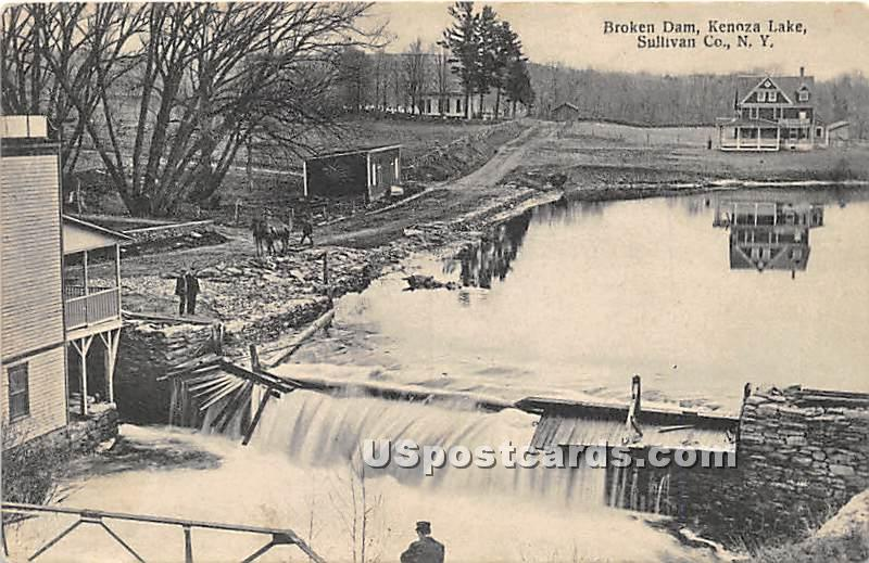 Broken Dam - Kenoza Lake, New York NY Postcard