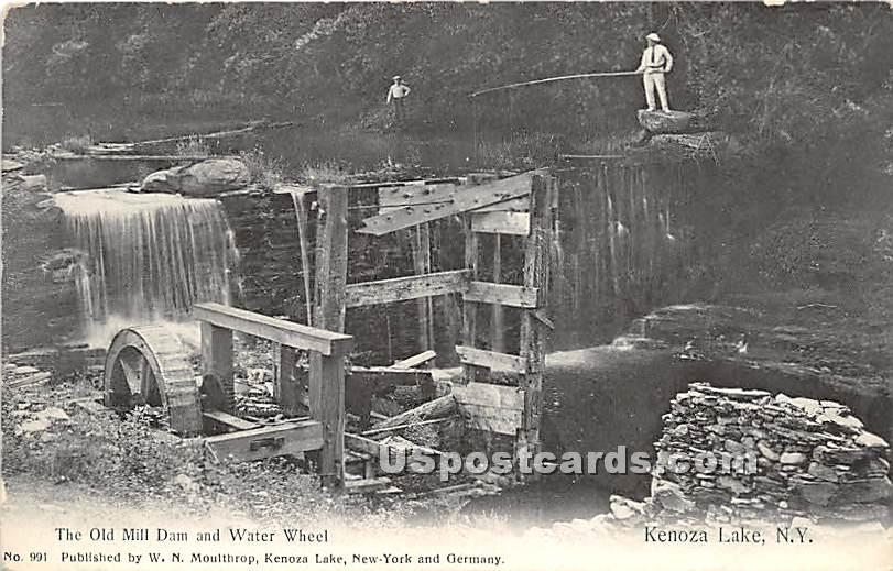 The Old Mill Dam and Water Wheel - Kenoza Lake, New York NY Postcard