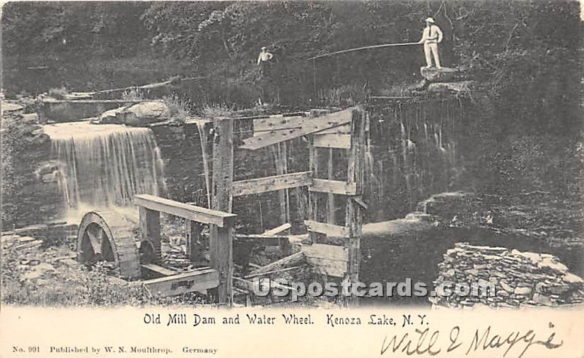 Old Mill Dam and Water Wheel - Kenoza Lake, New York NY Postcard