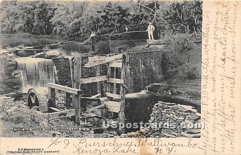 Old Water Wheel - Kenoza Lake, New York NY Postcard
