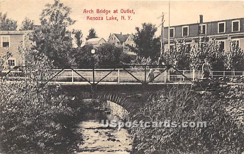 Arch Bridge at Outlet - Kenoza Lake, New York NY Postcard
