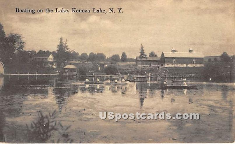 Boating on the Lake - Kenoza Lake, New York NY Postcard