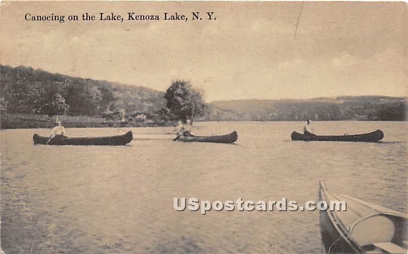 Canoeing on the Lake - Kenoza Lake, New York NY Postcard