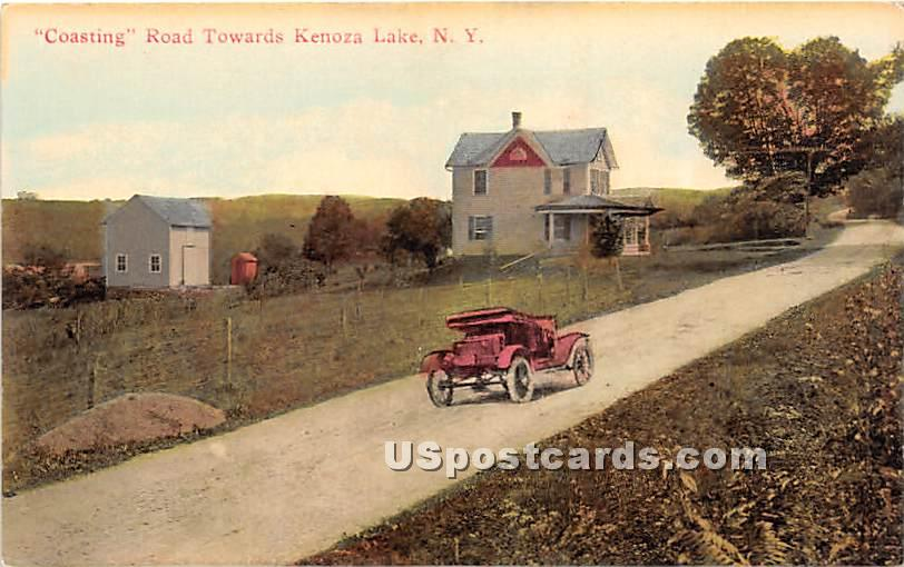 Coasting Road - Kenoza Lake, New York NY Postcard
