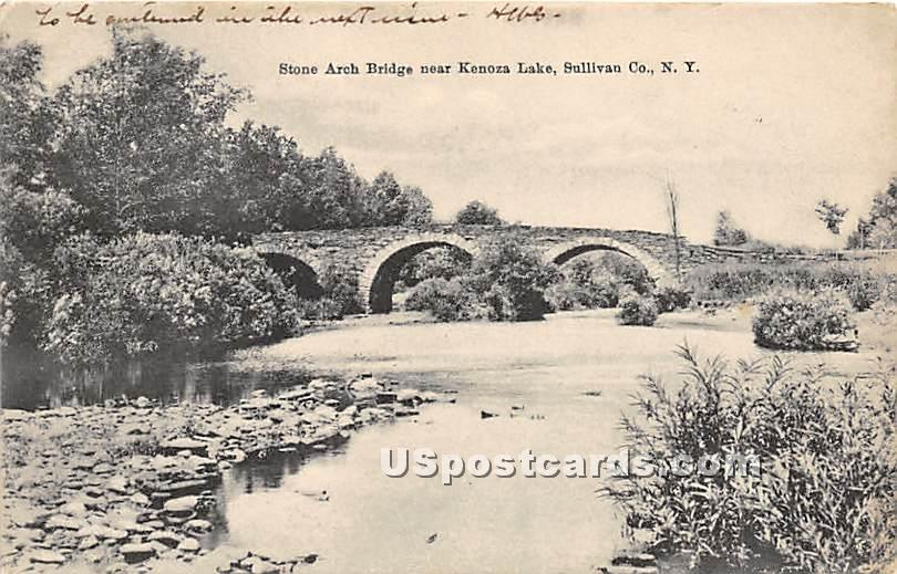 Stone Arch Bridge - Kenoza Lake, New York NY Postcard