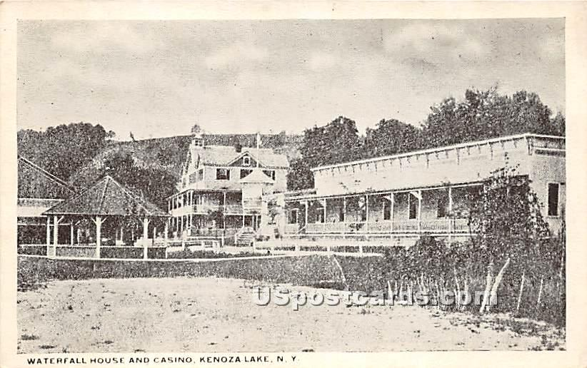 Waterfall House and Casino - Kenoza Lake, New York NY Postcard