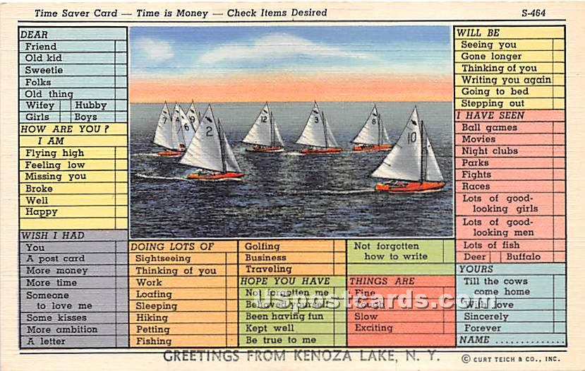 Time Saver Card - Kenoza Lake, New York NY Postcard