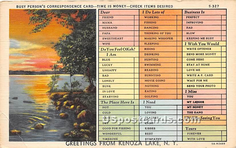 Busy Person's Correspondence Card - Kenoza Lake, New York NY Postcard
