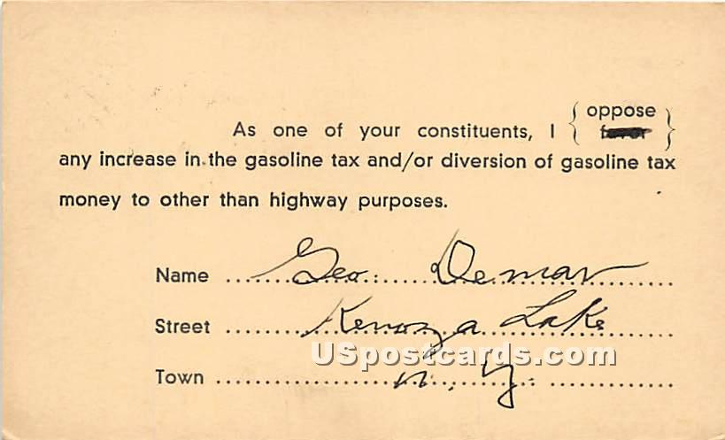 Increase in the Gasoline Tax - Kenoza Lake, New York NY Postcard