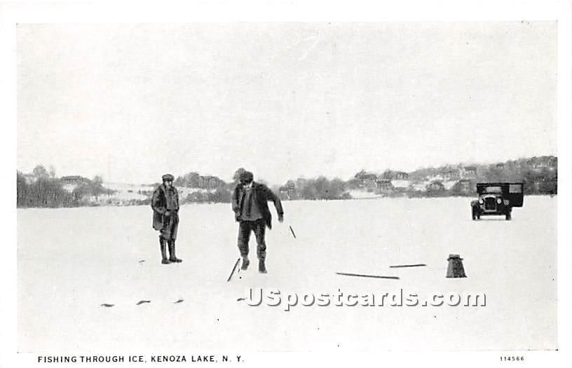 Fishing Through Ice - Kenoza Lake, New York NY Postcard