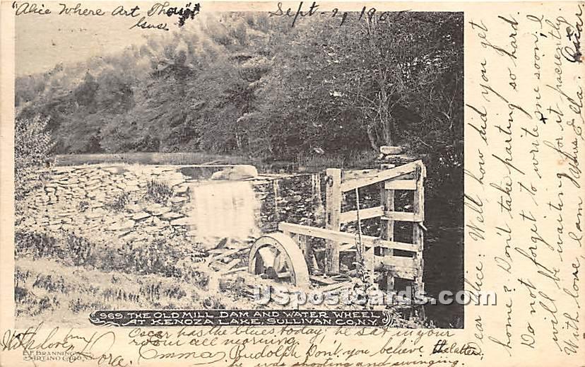 Old Mill Dam and Water Wheel - Kenoza Lake, New York NY Postcard