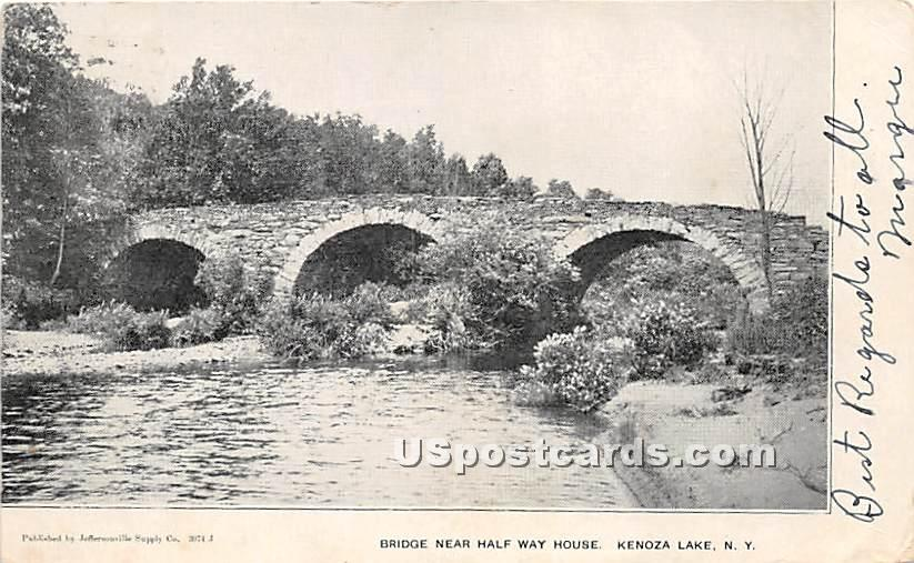 Bridge near Half Way House - Kenoza Lake, New York NY Postcard