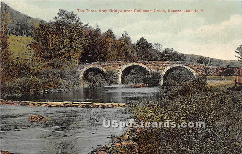Three Arch Bridge - Kenoza Lake, New York NY Postcard