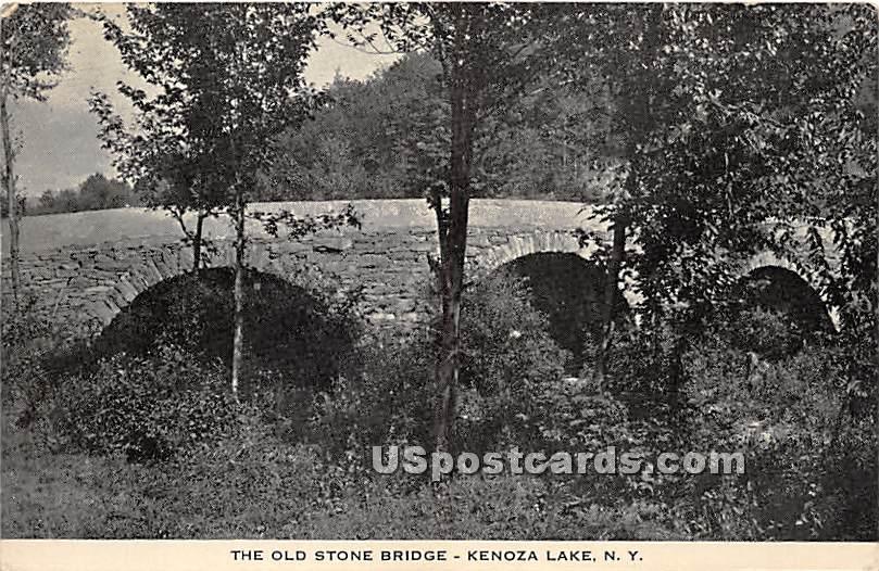 The Old Stone Bridge - Kenoza Lake, New York NY Postcard