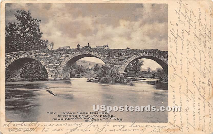Stone Arch Bridge - Kenoza Lake, New York NY Postcard