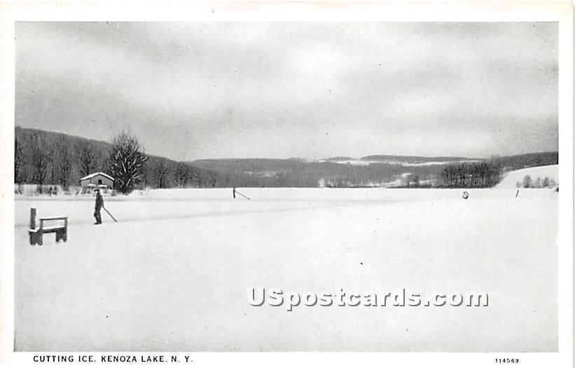Cutting Ice - Kenoza Lake, New York NY Postcard