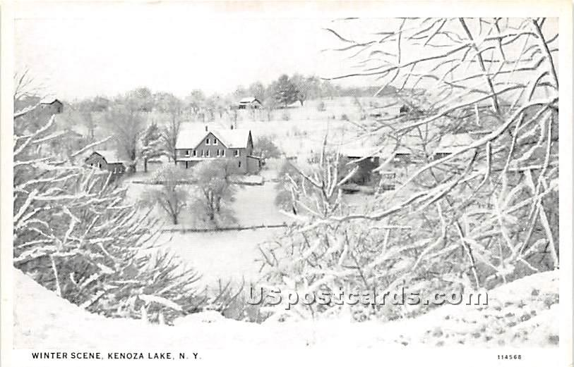 Winter Scene - Kenoza Lake, New York NY Postcard