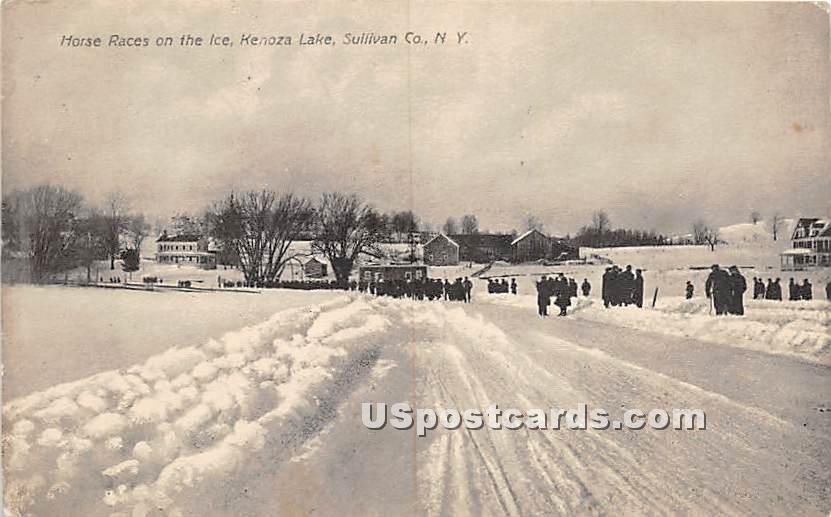 Horse Races on the Ice - Kenoza Lake, New York NY Postcard
