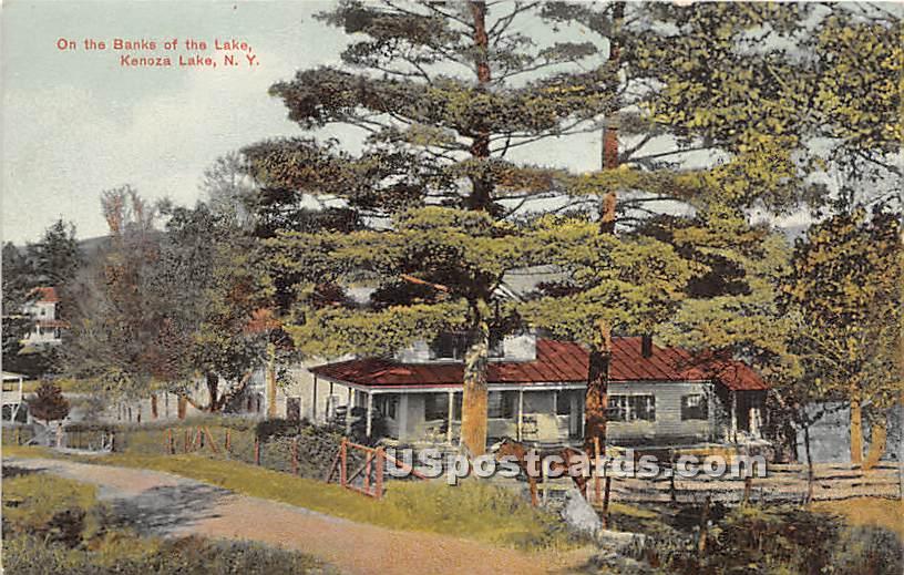 On the Banks of the Lake - Kenoza Lake, New York NY Postcard