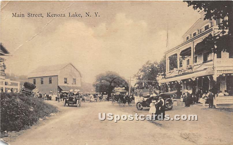 Main Street - Kenoza Lake, New York NY Postcard