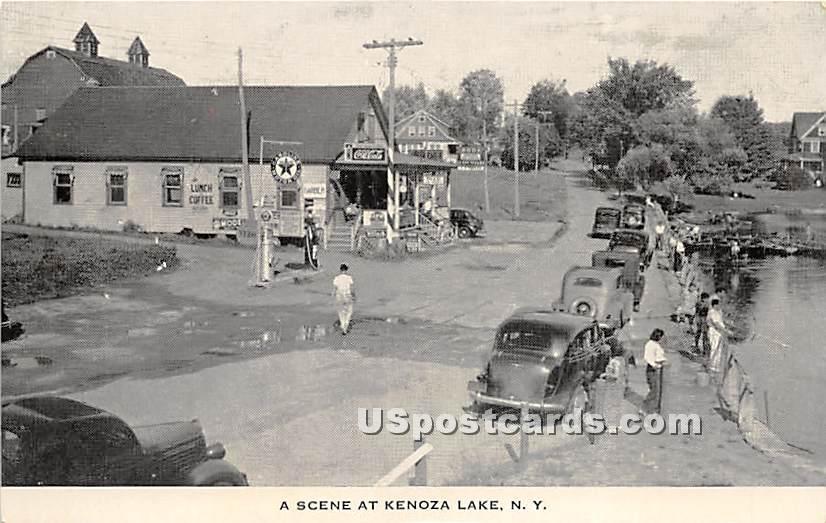 Street Scene - Kenoza Lake, New York NY Postcard