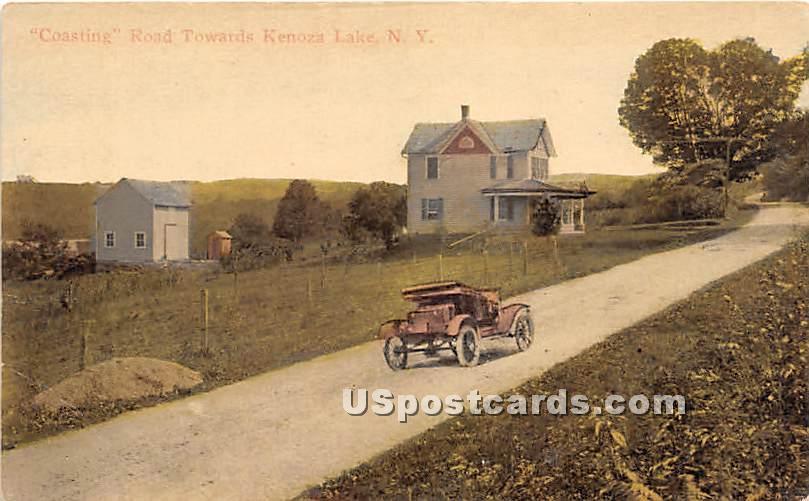 Coasting Road - Kenoza Lake, New York NY Postcard