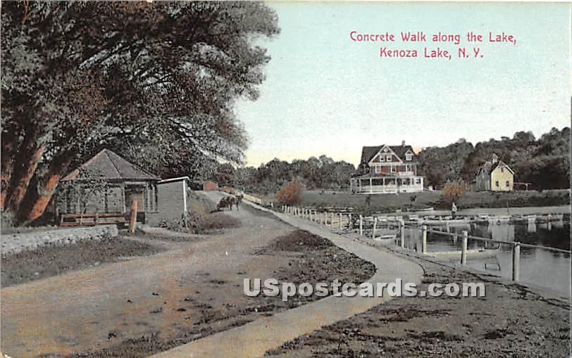 Concrete Walk along the Lake - Kenoza Lake, New York NY Postcard