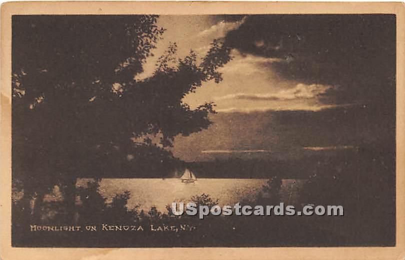 Moonlight on Lake - Kenoza Lake, New York NY Postcard
