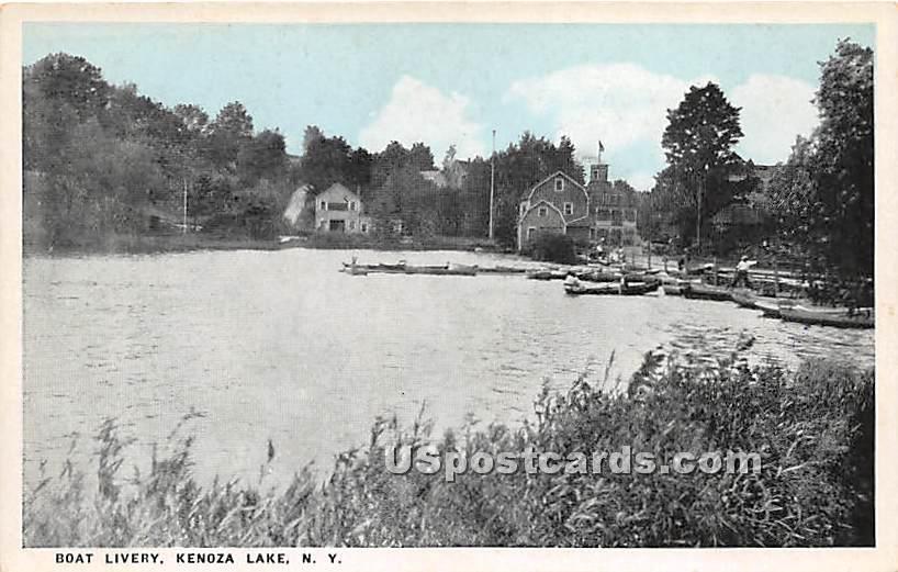 Boat Livery - Kenoza Lake, New York NY Postcard