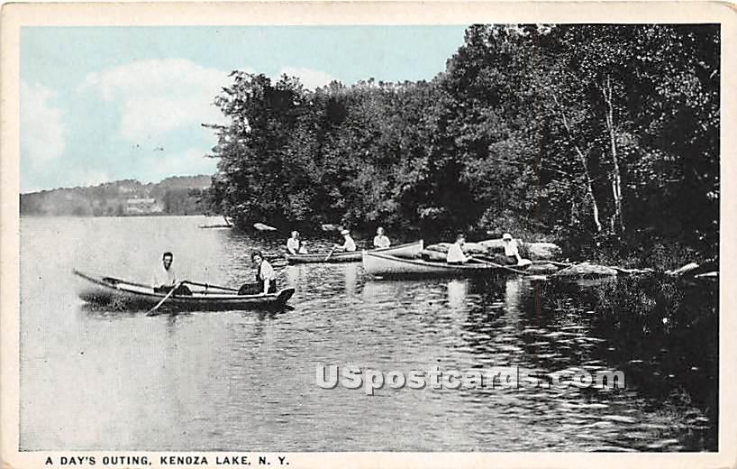 A Day's Outing - Kenoza Lake, New York NY Postcard