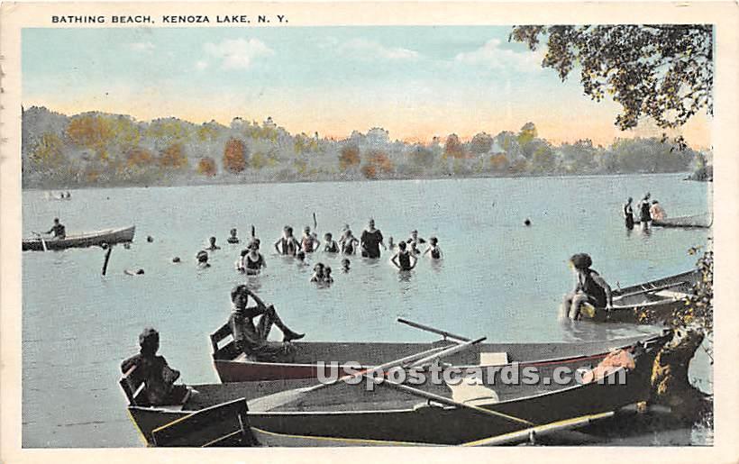 Bathing BEach - Kenoza Lake, New York NY Postcard