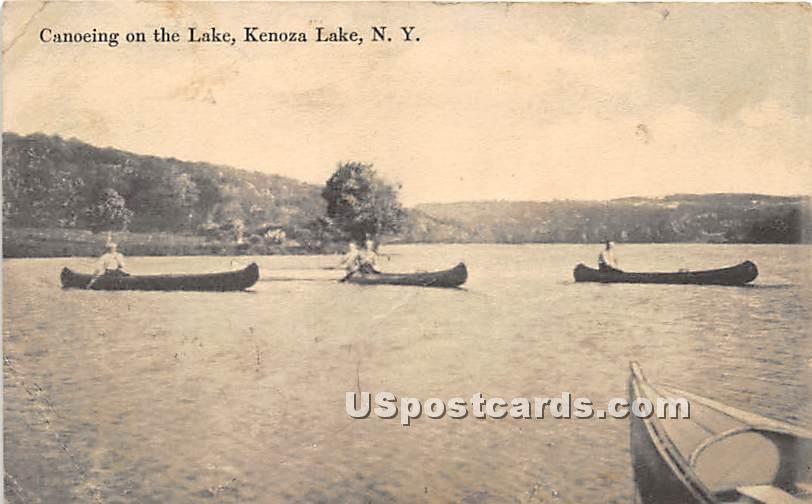 Canoeing on the Lake - Kenoza Lake, New York NY Postcard