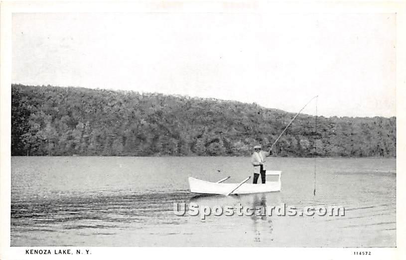 Fishing - Kenoza Lake, New York NY Postcard