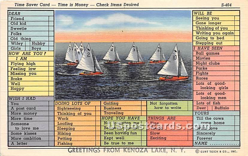 Time Saver Card - Kenoza Lake, New York NY Postcard