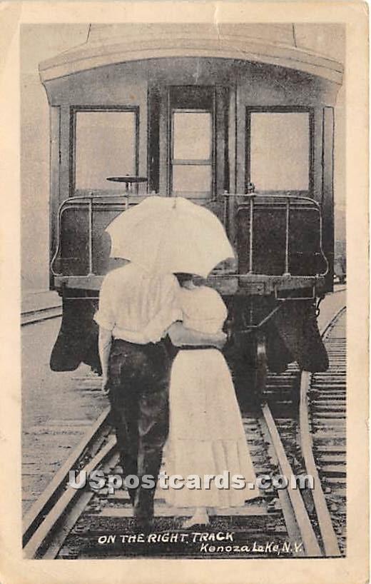 On the Right Track - Kenoza Lake, New York NY Postcard